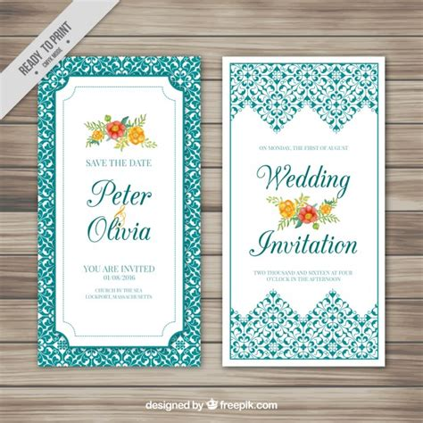 Wedding Card Ornaments wedding card with flowers and ornaments vector free