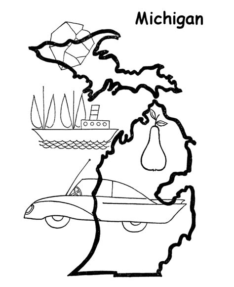 michigan state outline coloring page coloring us