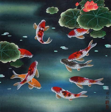 Lukisan Koi Big Myy 12 nine koi fish and lotus flowers painting asian