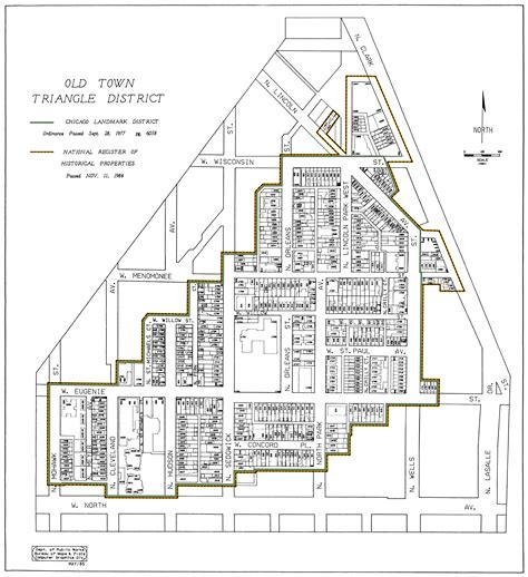 chicago map landmarks town triangle association 187 maps