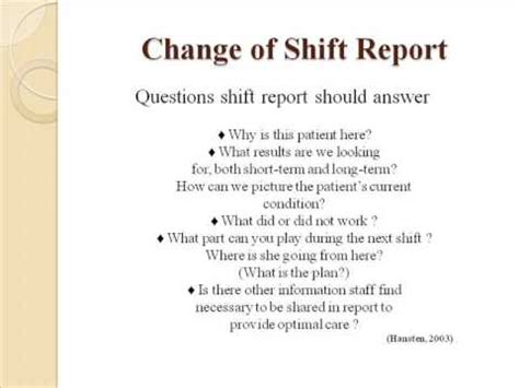 Handover Wmv Youtube End Of Shift Report Template