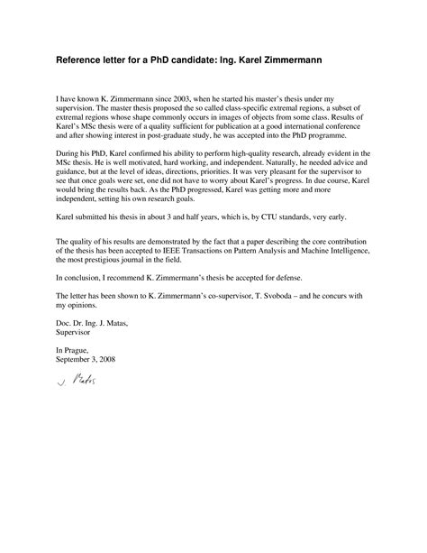 reference letter phd candidate templates