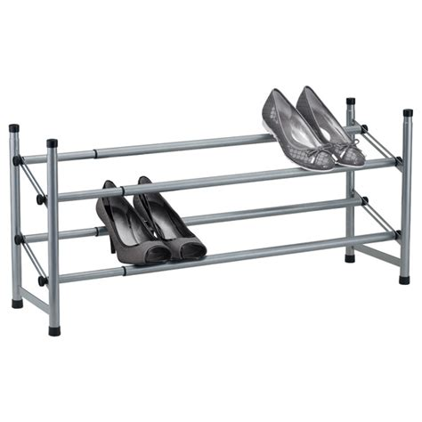 Two Tier Shoe Rack by Platinum 2 Tier Adjustable Shoe Rack The Container Store