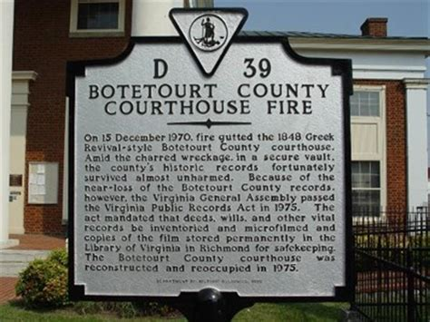 Botetourt County Records Botetourt County Courthouse Virginia Historical Markers On Waymarking