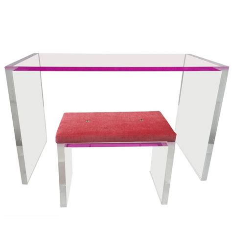 whimsical pink and clear acrylic desk and bench at 1stdibs