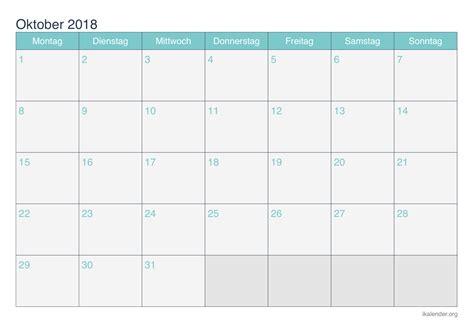 Kalender Oktober 2018 Zum Ausdrucken Kalender Oktober 2018 Zum Ausdrucken Ikalender Org