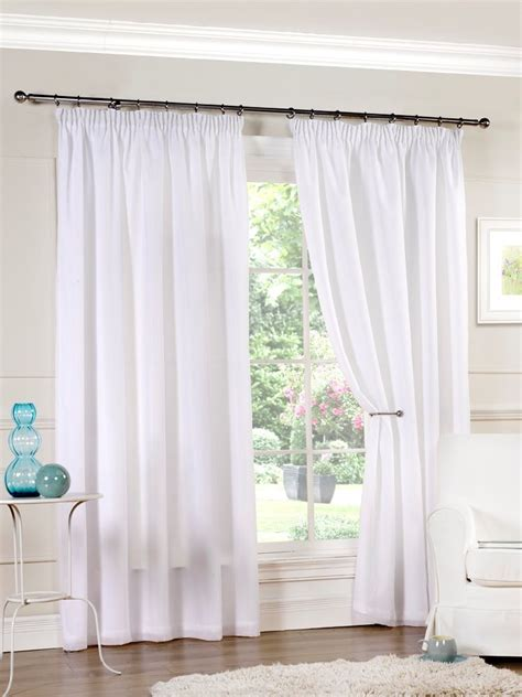 voile curtains luxury pair of ready made white lined voile pencil pleat 3 quot top curtains ebay