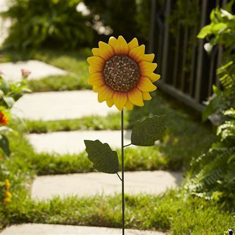 Sunflower Garden Decor Sunflower Yard Stakes Outdoor Living Outdoor Decor Lawn Ornaments Statues