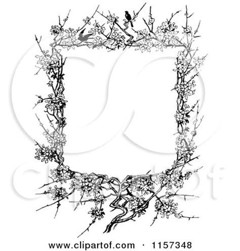 Twigs Chandelier Retro Vintage Black And White Blossom And Twig Border