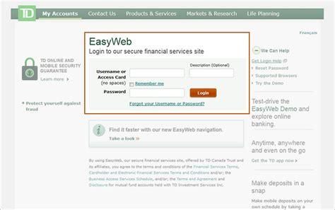 td easyweb bank td canada trust cross border banking