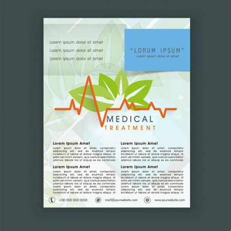free health flyer templates flyer template with decorative leaves vector premium