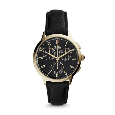 abilene chronograph black leather fossil