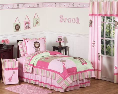 sweet jojo designs pink green animal jungle safari kids twin girls bedding set ebay