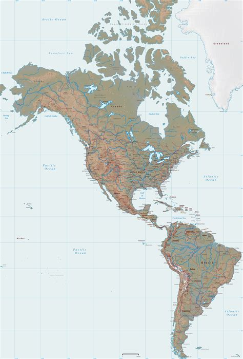 america continent map america physical map of the continent