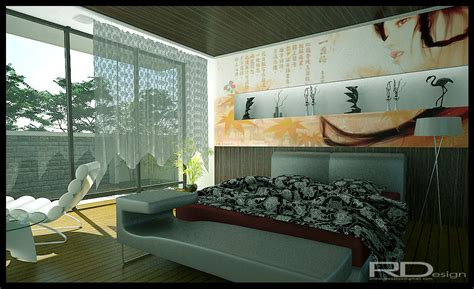 Modern chinese bedroom interior design