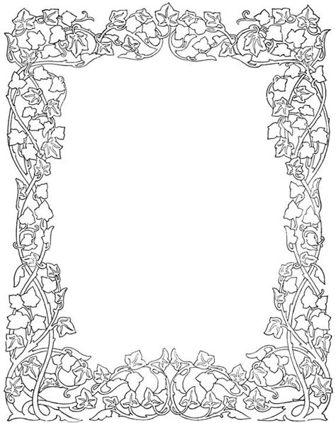 fall coloring page borders floral frames patterns ornament and pyrography