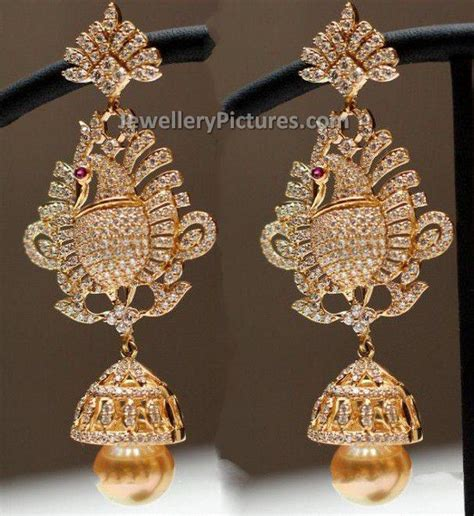home design diamonds jhumka in peacock design jewellery designs