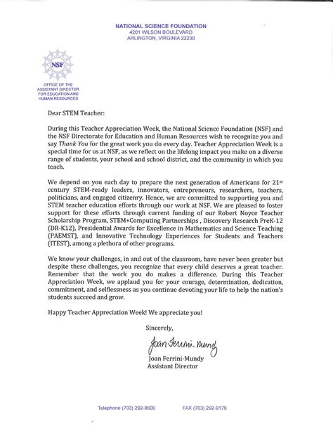 Nsf Commitment Letter Appreciation Week A Letter From The Nsf Announce Of Nebraska Lincoln