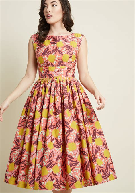 A Sea Of Roses Flare Dress floral dresses floral print dresses modcloth
