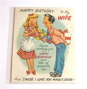 vintage birthday card happy birthday to my wife vintage