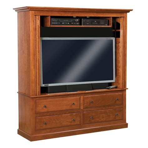 tv cabinet with doors that enclose tv