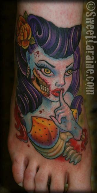new school zombie girl tattoo sweet laraine zombie pinup says