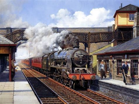 painting trains locomotive prints steam locomotive no 46108 at station