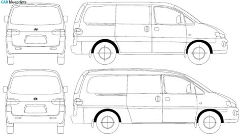 H Drawing Size by Car Blueprints Hyundai H1 Blueprints Vector Drawings