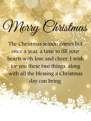 golden twinkling merry christmas wishes card birthday greeting cards  davia