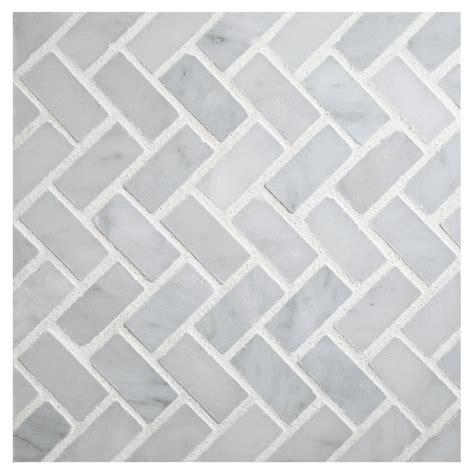 Herringbone Kitchen Backsplash by Herringbone Mosaic Tile Polished White Carrara Marble