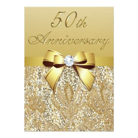 Wedding Anniversary Golden by 50th Gold Wedding Anniversary Faux Sequins And Bow Card
