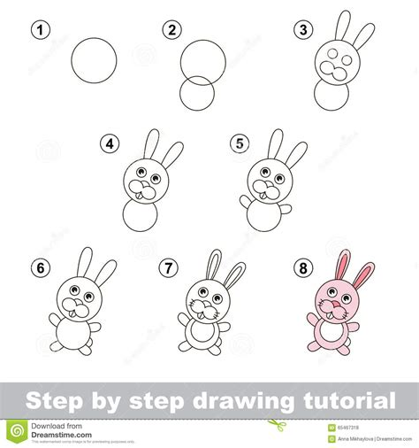 doodle draw tutorial drawing tutorial how to draw a rabbit stock vector