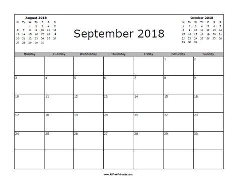 Calendã Setembro 2018 September 2018 Calendar Free Printable