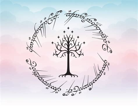 lord of the rings inspired white tree of gondor vector svg