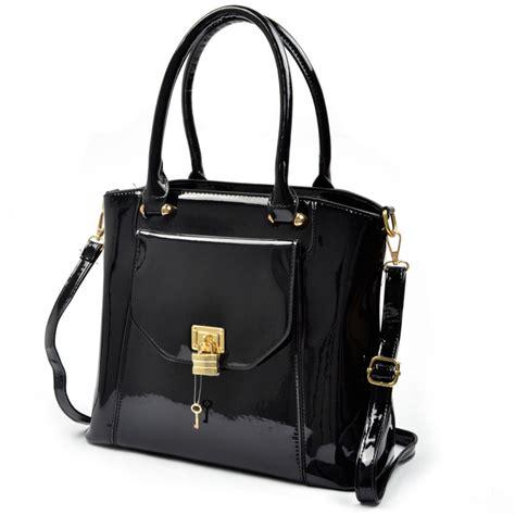 one of a leather handbags new black locket patent leather handbag s crossbody satchel tote ebay