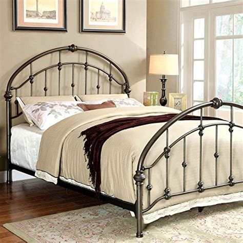 Carta Contemporary Vintage Style Brushed Bronze Finish Vintage Style Bed Frame