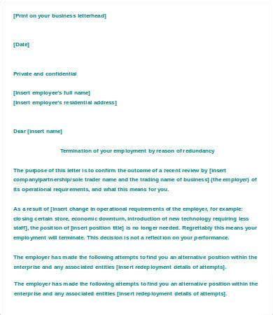 letter termination employment template