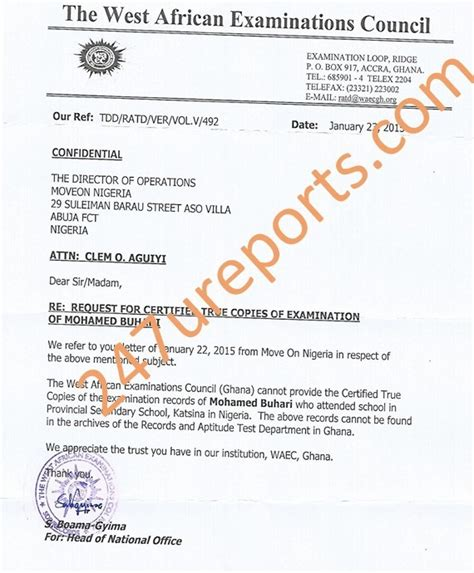 Certificate Collection Letter Breakingnews Waec Says It Has No Records On Buhari Letter Included 247ureports