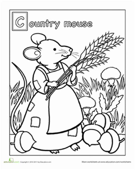 Town Mouse Coloring Page | color the country mouse worksheet education com