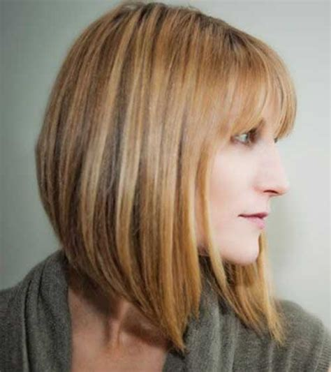 mid length hair cuts longer in front angled bobs with bangs short hairstyles 2016 2017
