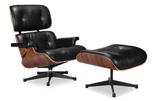 Mid Century Leather Chair Eames Lounge Chair Replica Vitra Black Manhattan Home Design