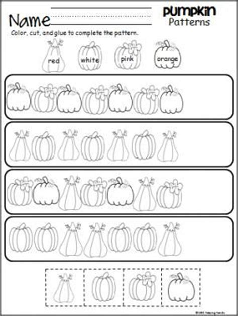 halloween pattern worksheets for kindergarten math pumpkins and october on pinterest