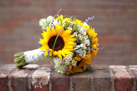 wedding bouquet sunflowers gingerlily flowers louise david s sunflower