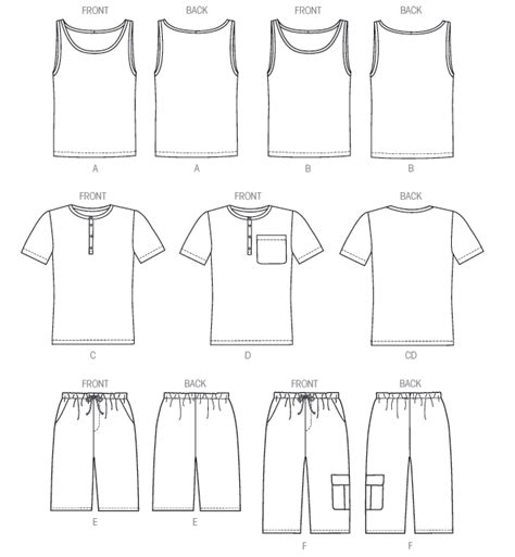 sewing pattern t shirt mccall s 6973 men s tank tops t shirts and shorts