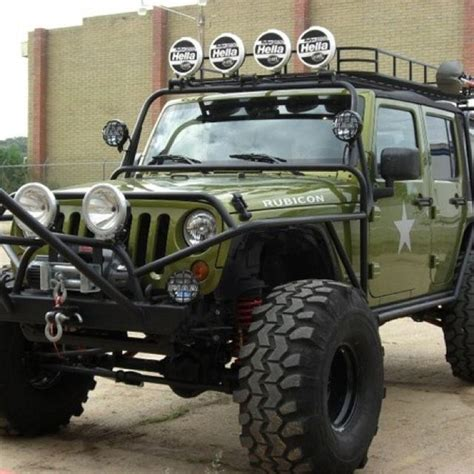 army green jeep rubicon my first love an army green jeep with raised suspension