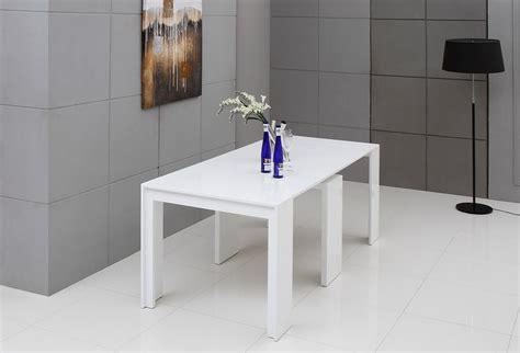 Extendable White Dining Table Modrest Morph Modern Ultra Compact Extendable White Dining Table