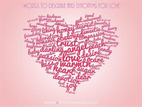 words that describe valentines day synonyms for and loved one word cloud positive