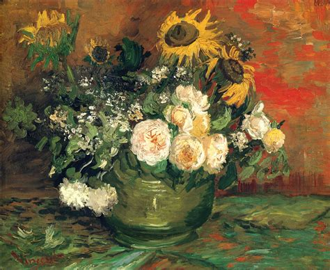 Famous Paintings Of Flowers In Vases Still Life With Roses And Sunflowers 1886 Vincent Van