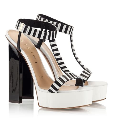 vicini black and white nappa leather high heel platform
