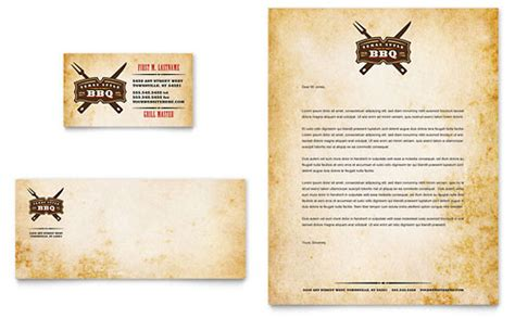 bbq business cards templates steakhouse bbq restaurant business card letterhead